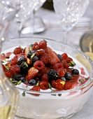 Berry Salad over Mascarpone topped with Pistachios