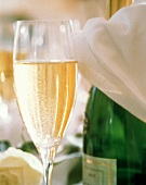 A Glass of Champagne with Bottle and White Napkin