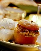Baked Stuffed Apple with Vanilla Ice Cream