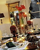 Candlelit Table for Christmas Dinner