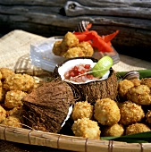 Stuffed coconut and fish balls