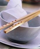 Asian Bowl with Chopsticks and Cloth Napkin