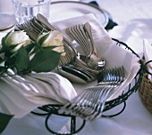 Basket with Silverware for a Buffet