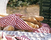 Several Baguettes in a Checkered Towel; Outdoors