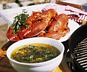 Grilled Lobsters with Herbed Oil