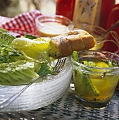Romaine lettuce with various marinades & baguette
