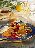 Veal escalope with tomatoes, peppers & beans, and ajvar