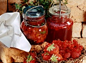 Strawberry preserve with rhubarb & raspberry & redcurrant jelly