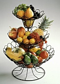 Mixed Fruit in a Three-tiered Wire Basket