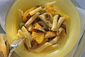 Penne with yellow pepper, anchovies & green olives