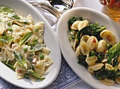 Farfalle with peas & mint; orecchiette with spinach