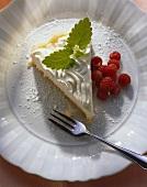 Rice tart with soft cheese, raspberries & lemon balm