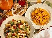 Ratatouille & potato salad & curried pumpkin with pumpkin seeds