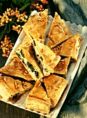 Sheep's cheese and spinach pie with pine nuts