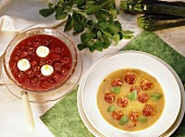 Cold courgette & fruit soup & cold cherry soup with dumplings