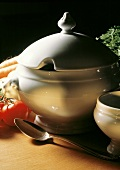 White Soup Tureen with Vegetables