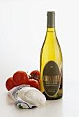 Mozzarella di bufala, tomatoes & an appropriate white wine