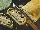 Salmon & pike-perch strudel with spinach & vegetable puree