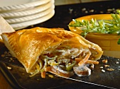 Brook trout with mushrooms, leeks & carrots in puff pastry