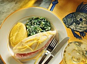 Stuffed John Dory fillets with spinach, mashed potato