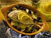 Orata al forno (Dorade mit Fenchelgemüse im Ofen gebacken)