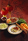 Peking duck with flat bread, spring onions, soya bean paste