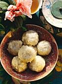 Pearl dumplings - sticky rice dumplings filled with sesame