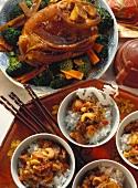 Knuckle of pork with vegetables; diced pork on rice
