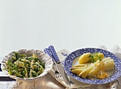 May vegetables with mint & asparagus with egg puree & potatoes