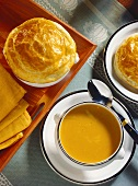 Pumpkin soup with and without pastry topping