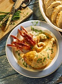 Chicken leg with crab sauce, crab and chives