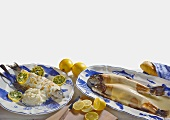 Trout in champagne sauce & whitefish with flaked almonds