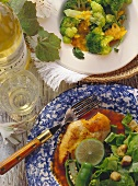 Broccoli with orange puree; chicken with chili sauce & salad