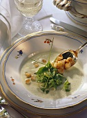 Green cream soup with herb leaves and croutons