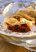 Crepes with wild strawberries & whipped cream dumplings
