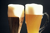 Two Glasses of Beer; Dark Wheat Beer and Light Wheat Beer