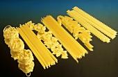 Spaghetti, pasta nests, macaroni, farfalle, penne, reginette