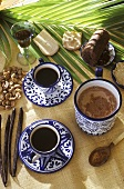 Black coffee with rum & spices and cocoa with spices