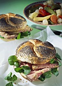 Poppy seed roll with roast beef, watercress & mayonnaise