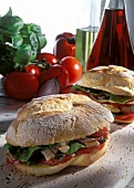 Sandwich with grilled tuna, peppers, tomatoes (Pan bagnat)