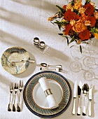 Single place setting for five-course meal