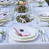 Festive table for a girl's baptism celebration