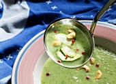 Courgette soup with cashew kernels & pink peppercorns