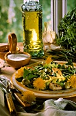 Dandelion Salad with Olives and Croutons