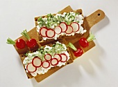 Two crispbreads with soft cheese, radishes & cress