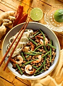 Thai bean stew with mince, shrimps & broad glass noodles