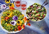 Lollo rosso with rhubarb, Lollo biondo with flowers, peppers