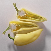 One  hole & two half yellow pointed peppers