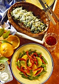 Peppers & mangetouts with oranges and chard rolls