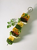 Vegetable kebab: sweetcorn, aubergines, courgettes etc